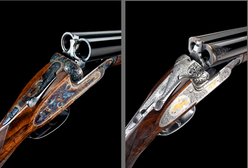 The gape and breech of the Purdey self-opening gun (left) and rifle (right) compared. In both the deepness of the gape and the uncluttered breech can be appreciated. (Picture courtesy of Purdey).