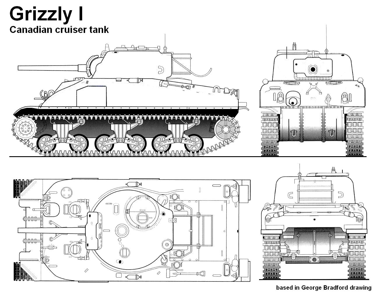 Differences between the US Sherman and the Canadian Grizzly are subtle but significant. (Picture courtesy of panzerserra.blogspot.com.au)
