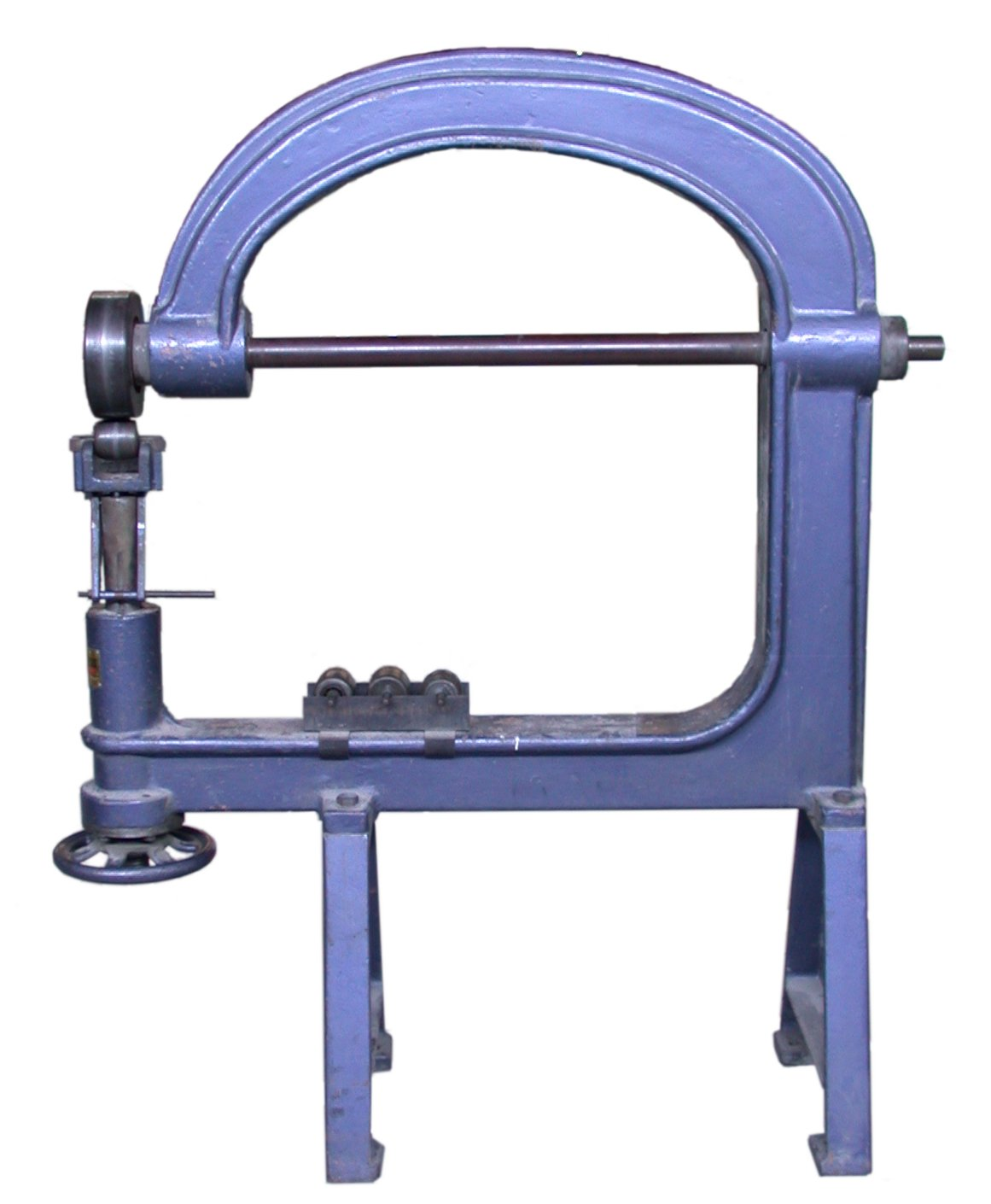 An English wheeling machine. Using this it is possible for the body fabricator to create compound curves in sheet metal such as aluminium. (Picture courtesy Wikipedia).