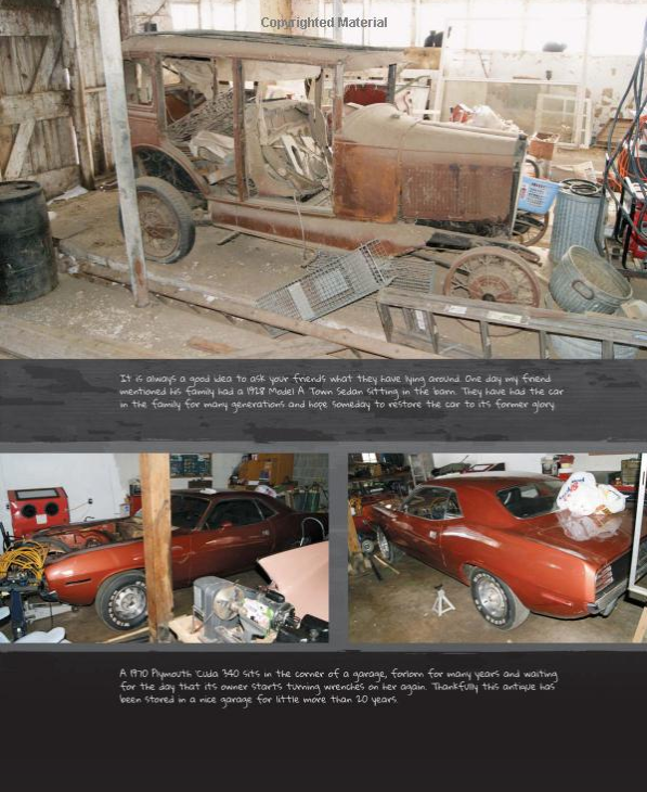"A sample page from ""Amazing Barn Finds"". Lots of pictures to bring alive the cultural relics and automotive art that is still out there wating to be discovered. (Picture courtesy of Amazon.com)"