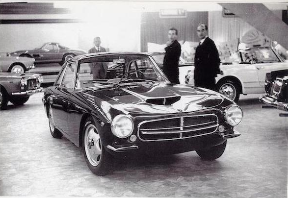 The 1961 O.S.C.A. 1600 GT coupé with its creators.