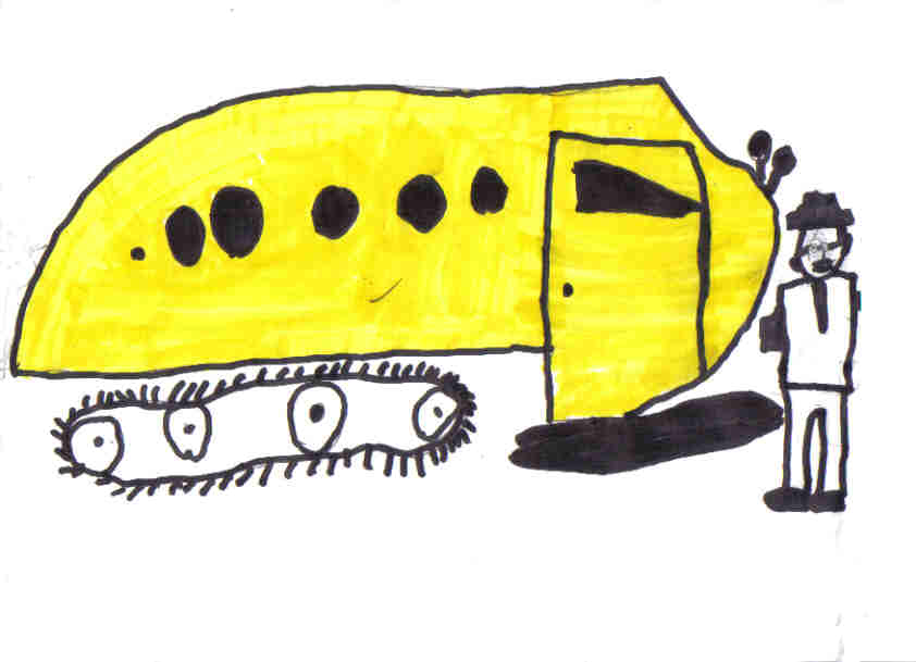 A child's drawing of Joseph Armande Bombardier with a B12 Snowmobile appropriately painted school bus yellow. (Picture courtesy of fameimages.com)