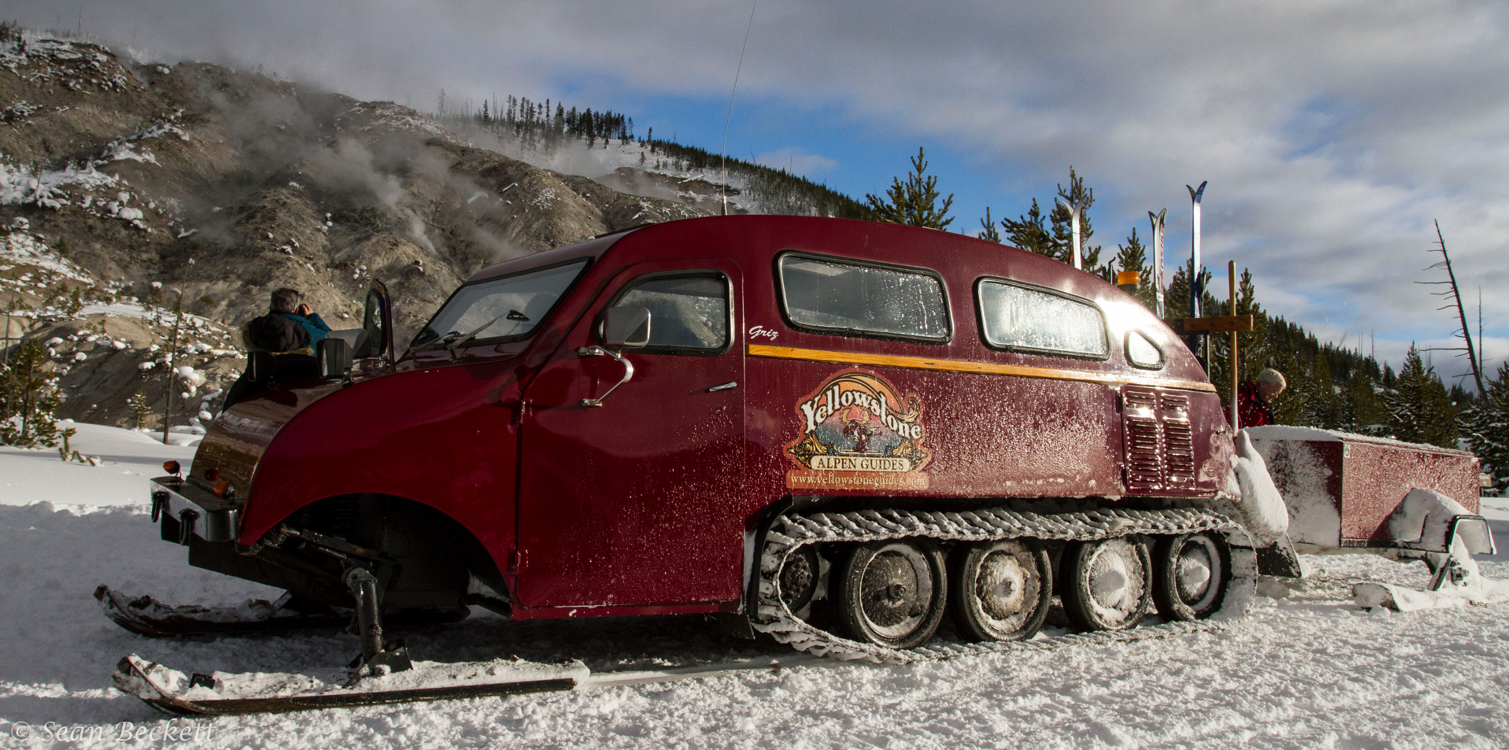 A later model Bombardier Snowmobile with the rectangular windows, in use in Yellowstone National Park. (Picture courtesy goodnature.nathab.com)