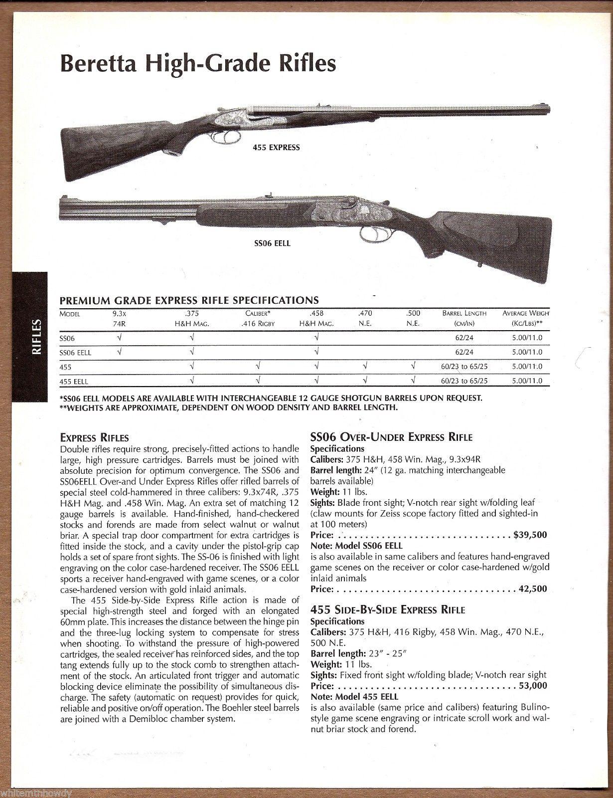 Original newspaper advertisement featuring the Beretta 455. (Picture courtesy E-bay).