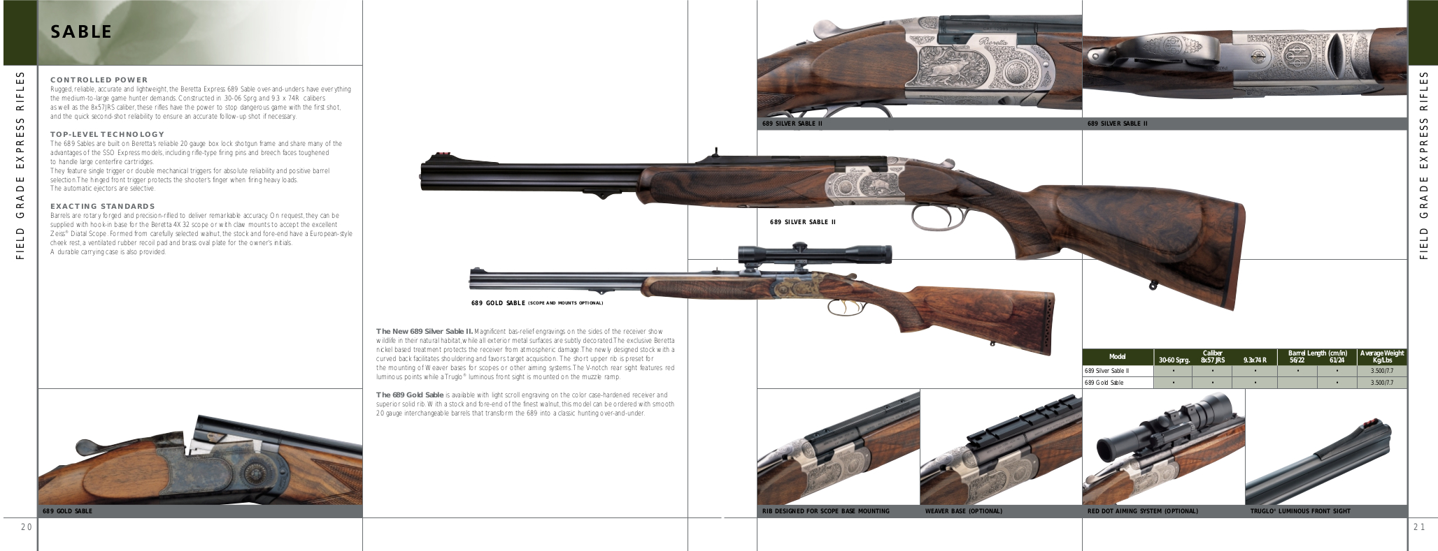 Page from the Beretta catalogue featuring the Silver Sable double rifles. (Picture courtesy Beretta).