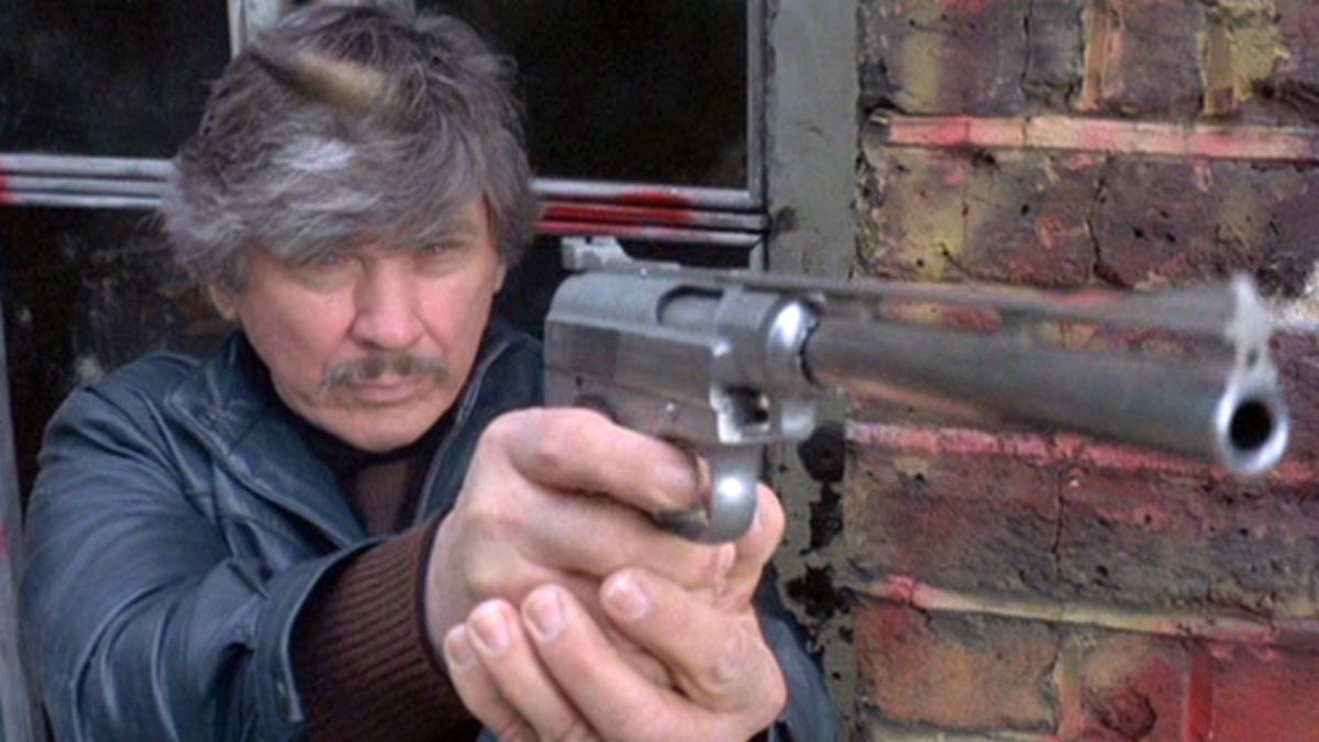 "Charles Bronson and his Wildey Pistol in ""Lethal Weapon""."