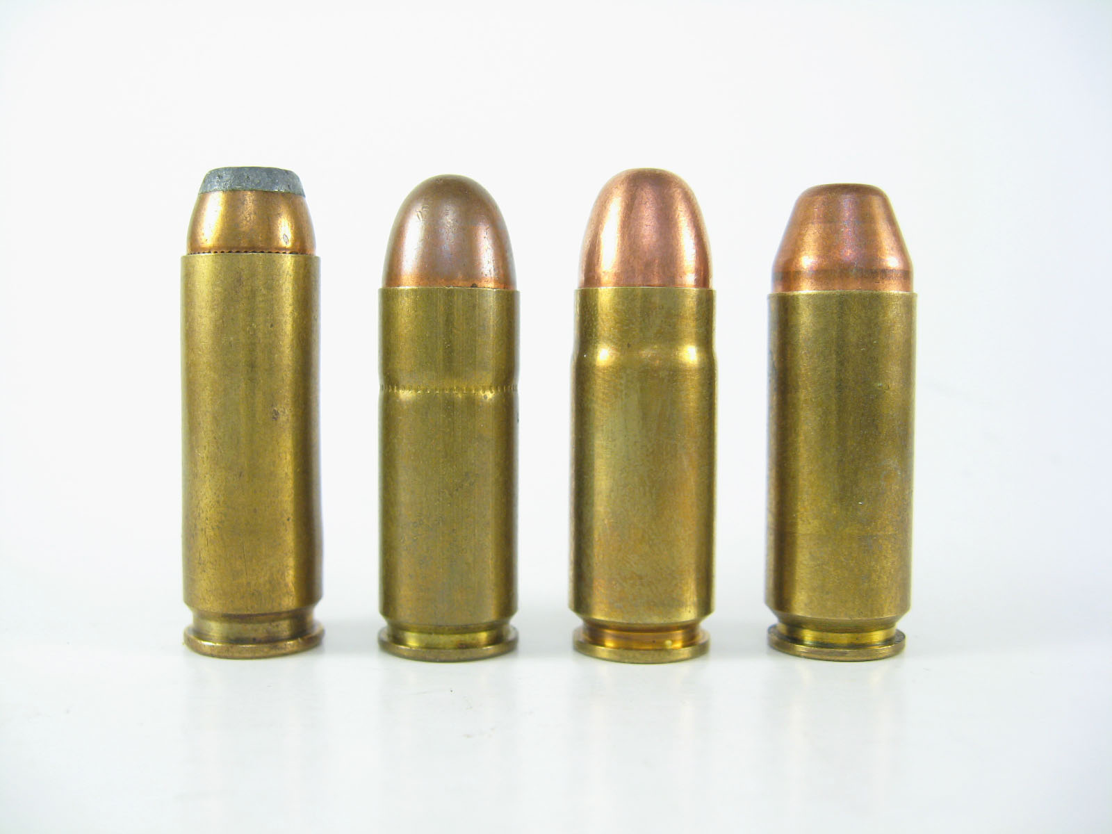 Some of the cartridges for which the Wildey pistol is chambered. From left to right 44 Auto Mag, 45 Winchester Magnum, 45 Wildey Magnum, 475 Wildey Magnum. (Picture courtesy Wikipedia).