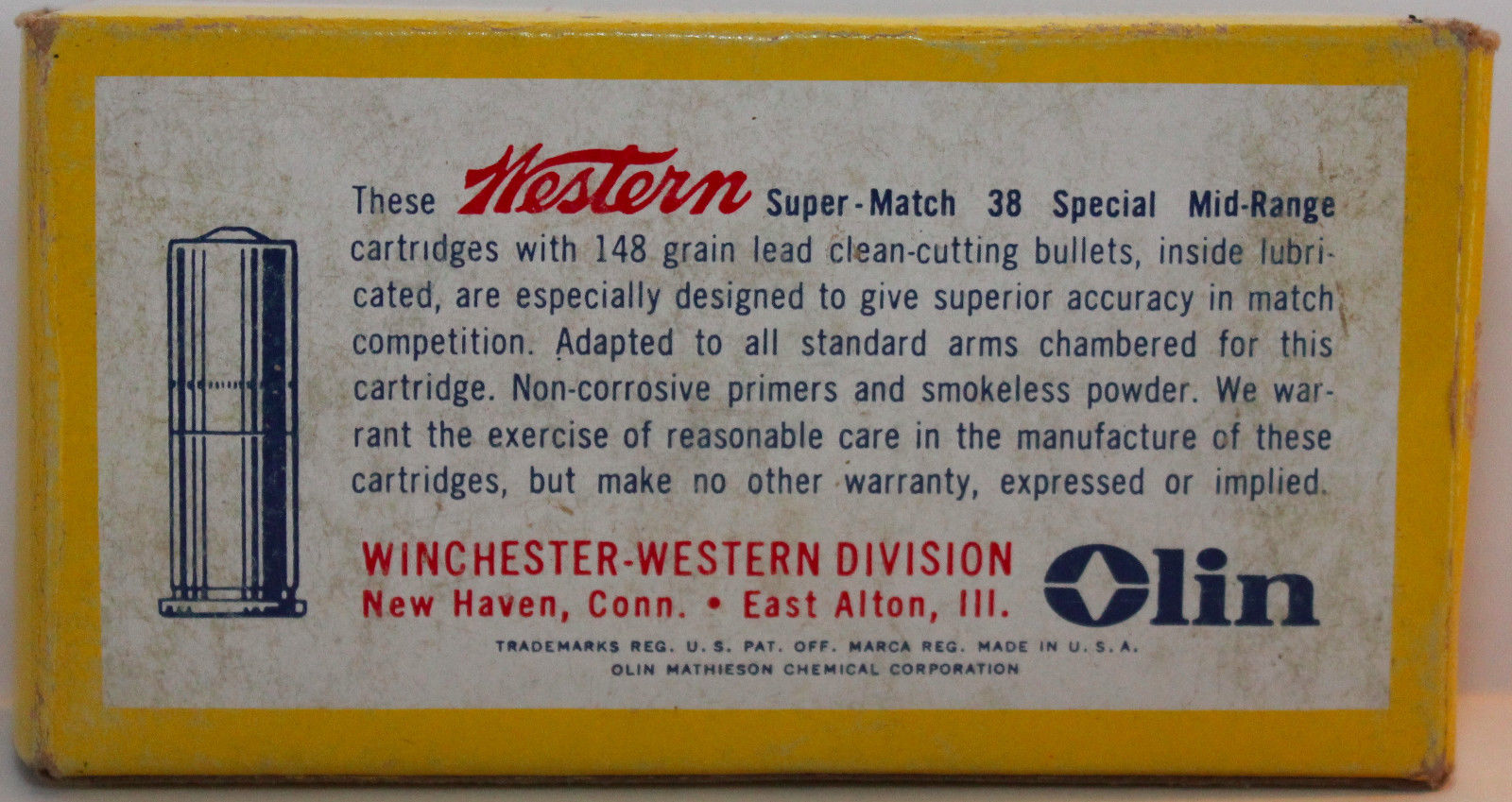 Vintage Winchester Western .38 Special Mid-Range wadcutter target ammunition. Listed velocity was 770fps with a 148 grain hollow base wadcutter lead bullet. (Picture courtesy eBay).