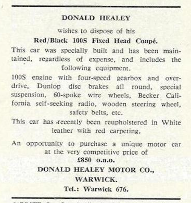 Donald Healey's 1953 Austin-Healey Coupé-ad