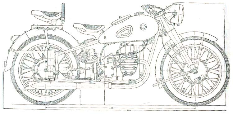 Early production drawing of the wartime Ural M72 (Picture courtesy ural.cc)