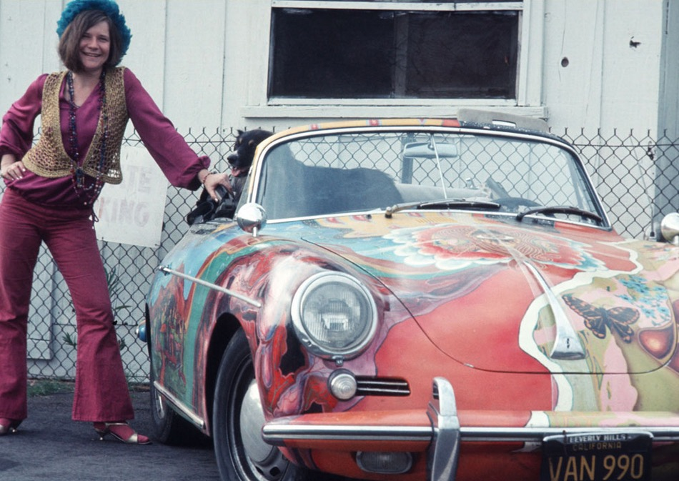 Janis Joplin with her dog and her psychedelic Volkswagen based Porsche 356.