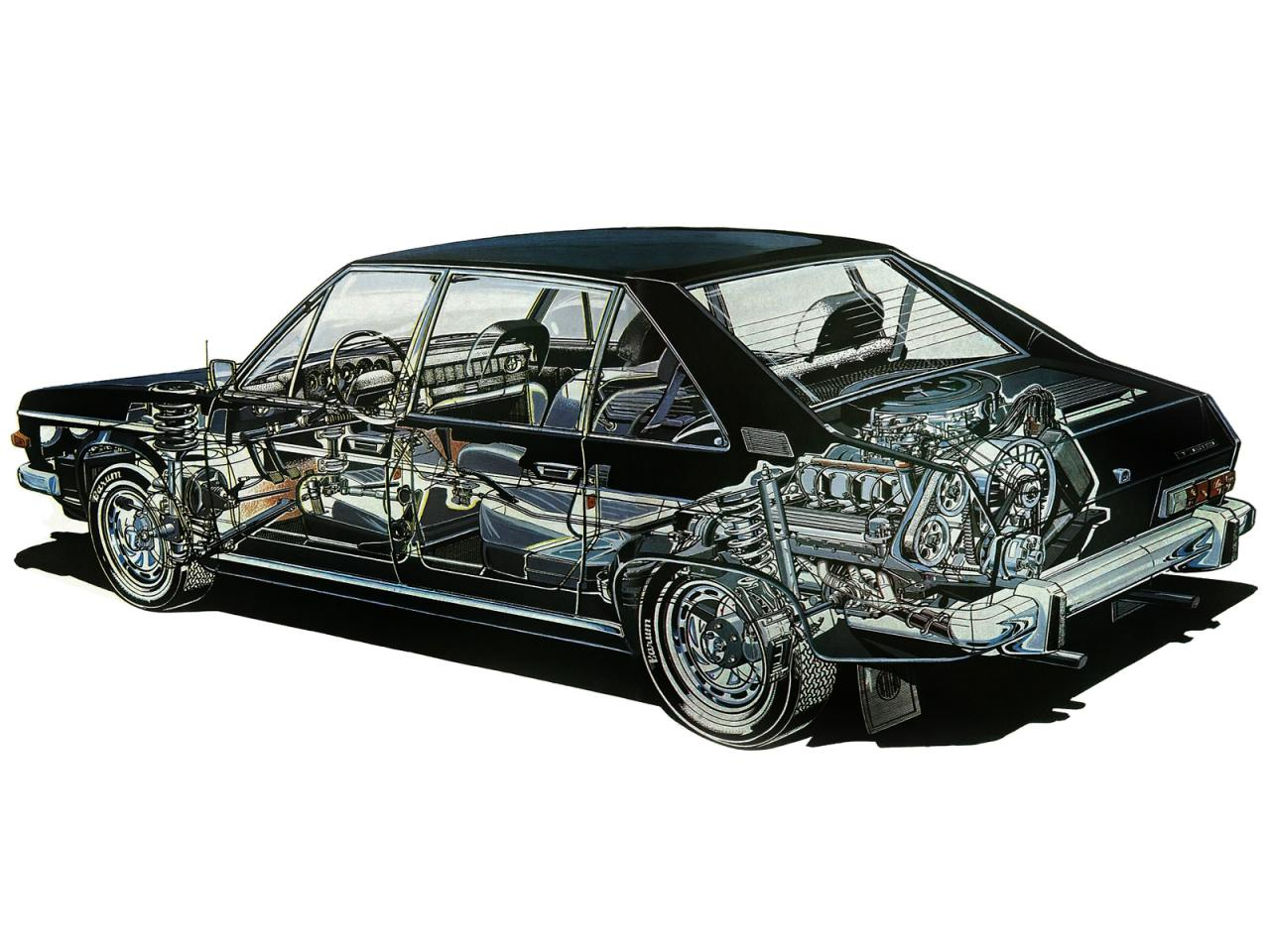 Cross section drawing of the Tatra 613 showing the semi-mid engine layout. The transverse V8 engine has four cylinders ahead of the rear axle line and four cylinders behind it. (Picture courtesy tatra-club.com)