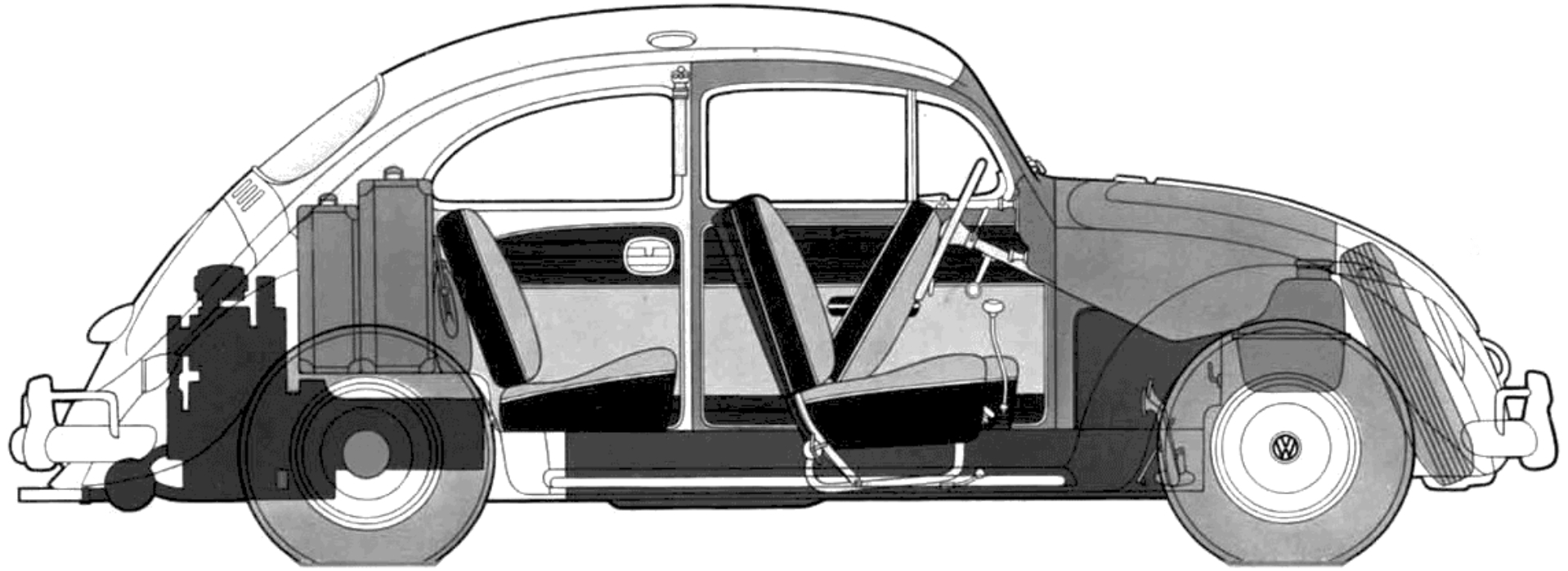 The design layout of the Volkswagen is nothing short of brilliant. Note how the heavy components, engine and transmission, suspension and fuel tank are all kept low to achieve a low centre of gravity. (picture courtesy onlytruecars.com)