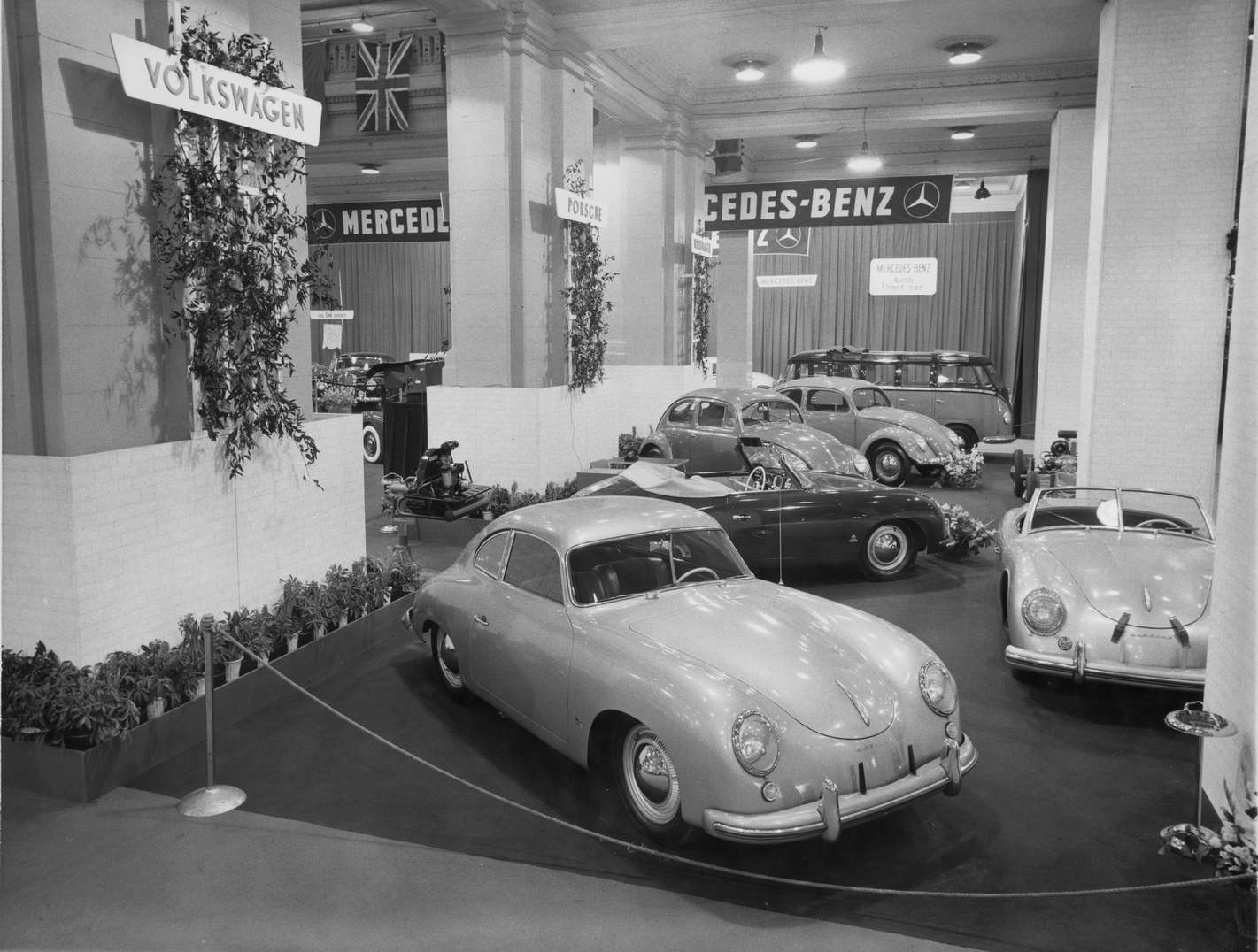 The Volkswagen/Porsche stand at the 1953 International Motor Sports Show in New York Grand Central Palace. (Picture courtesy flatsixes.com)