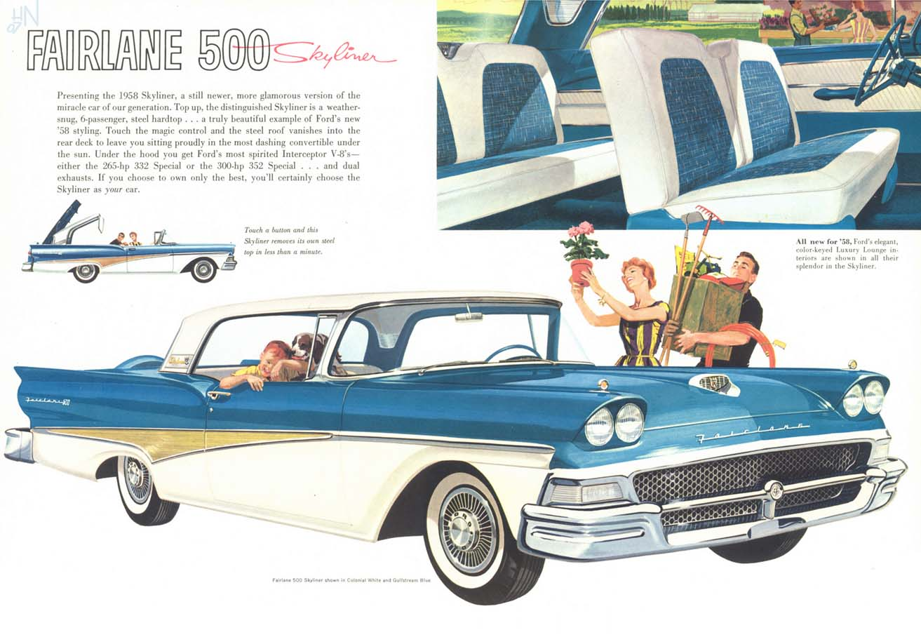 1958 Ford Fairlane - joy and luxury - it likely only got 14mpg. (Picture courtesy oldcarbrochures.com)