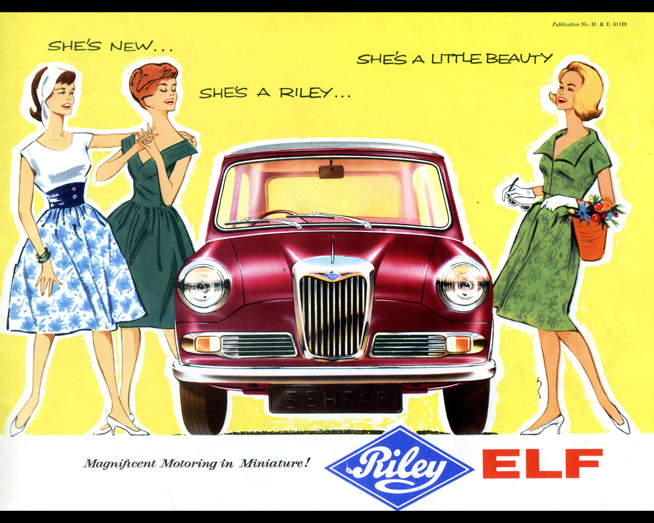 Sixties advertising for the Riley Elf was often aimed at women seeking a stylish small car. (Picture courtesy autoconcept-reviews.com)