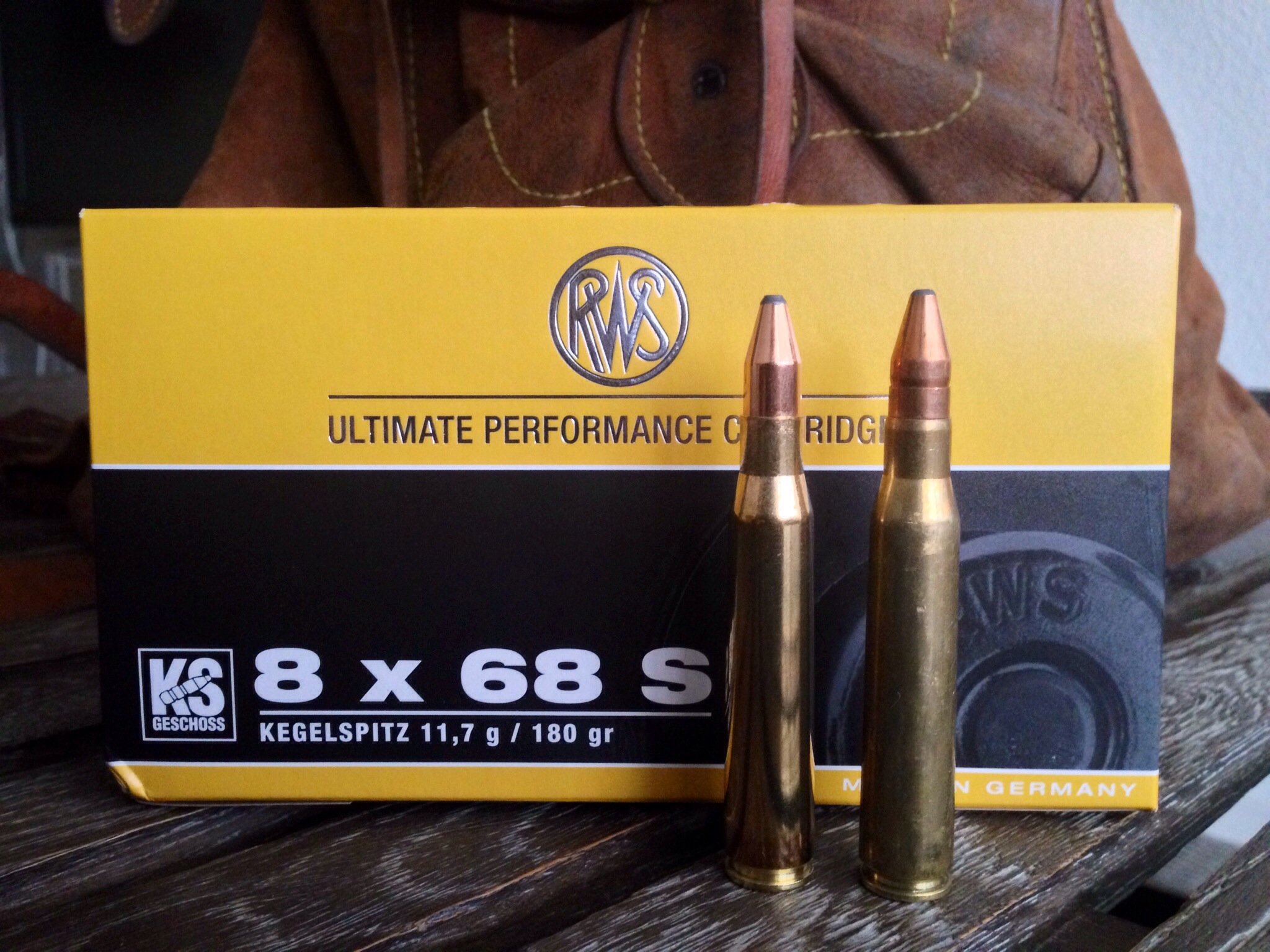 "The 8x68S as loaded by RWS of Germany. The two cartridges illustrated are not the same. The one on the left is a factory round loaded with the 180grain ""Kegelspitzer"" whilst the one on the right is not from the same packet and is loaded with the RWS Doppelkern bullet. (Picture courtesy cazarcazando.wordpress.com)."