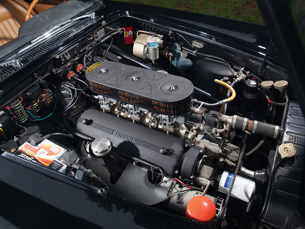 The 2,953 cc Single Overhead Camshaft V-12 engine has three twin choke Weber carburettors and produces a healthy 240bhp. (Picture courtesy RM Sotherby's).