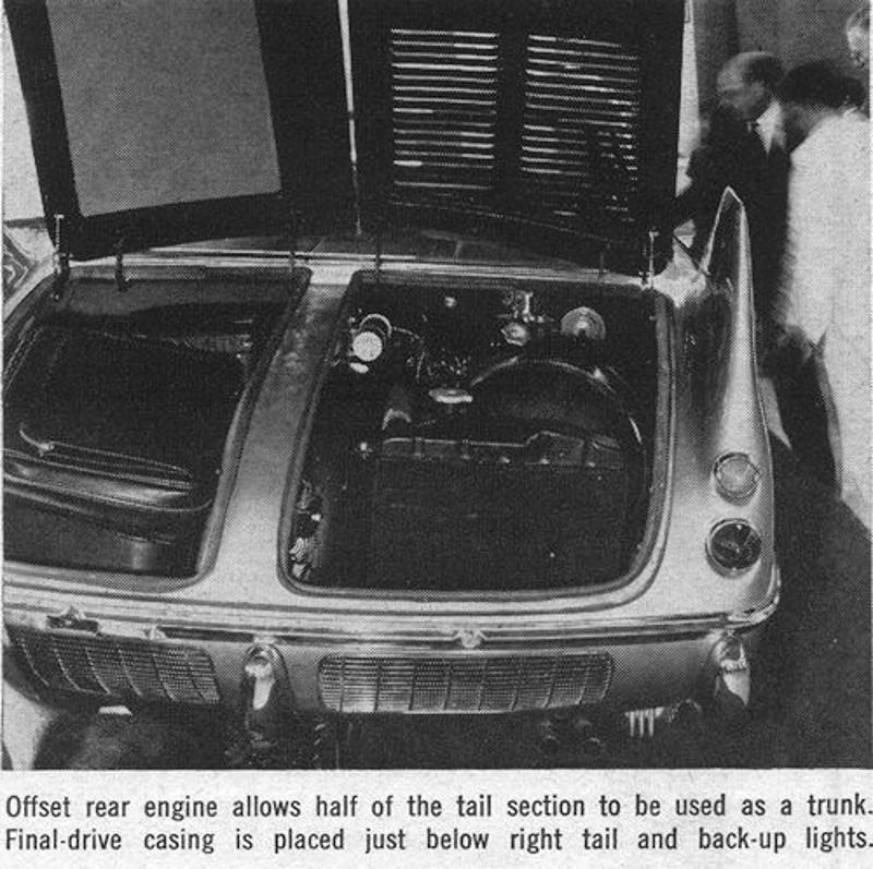 The engine and gearbox were angled and set to one side of the rear compartment. The left side of the rear was available for luggage. (Picture courtesy carstyling.ru).
