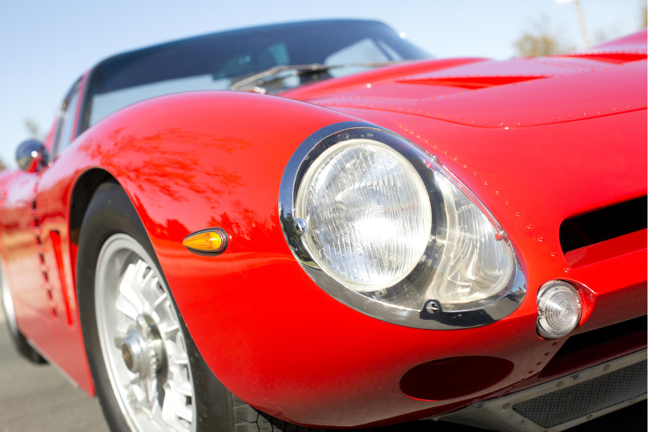 The feature car has bodywork built by Piero Drogo's Carrozzeria Sports Cars in Modena complete with riveted panels and is an example of the early production Iso Grifo A3 Competizione cars.