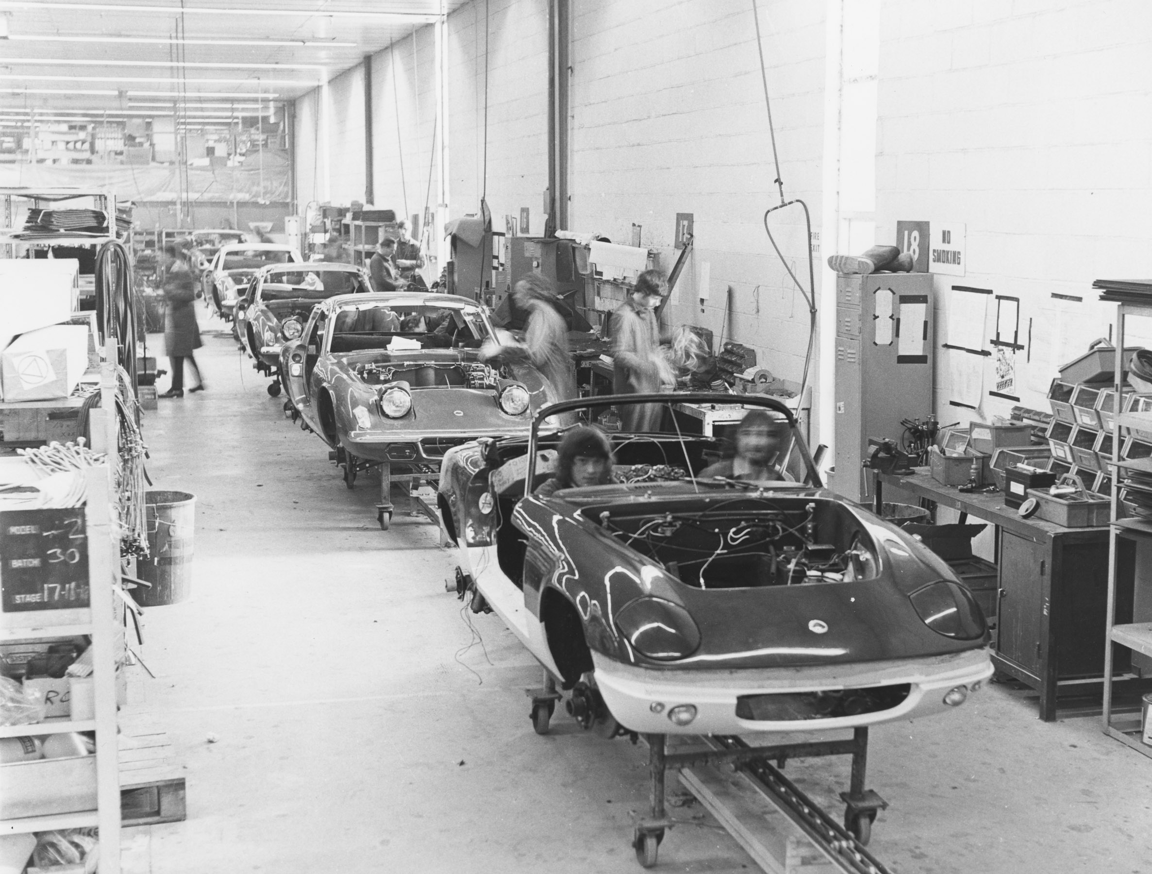 1969 photo of Lotus Elans on the production line at Hethel. (Picture courtesy Lotus).
