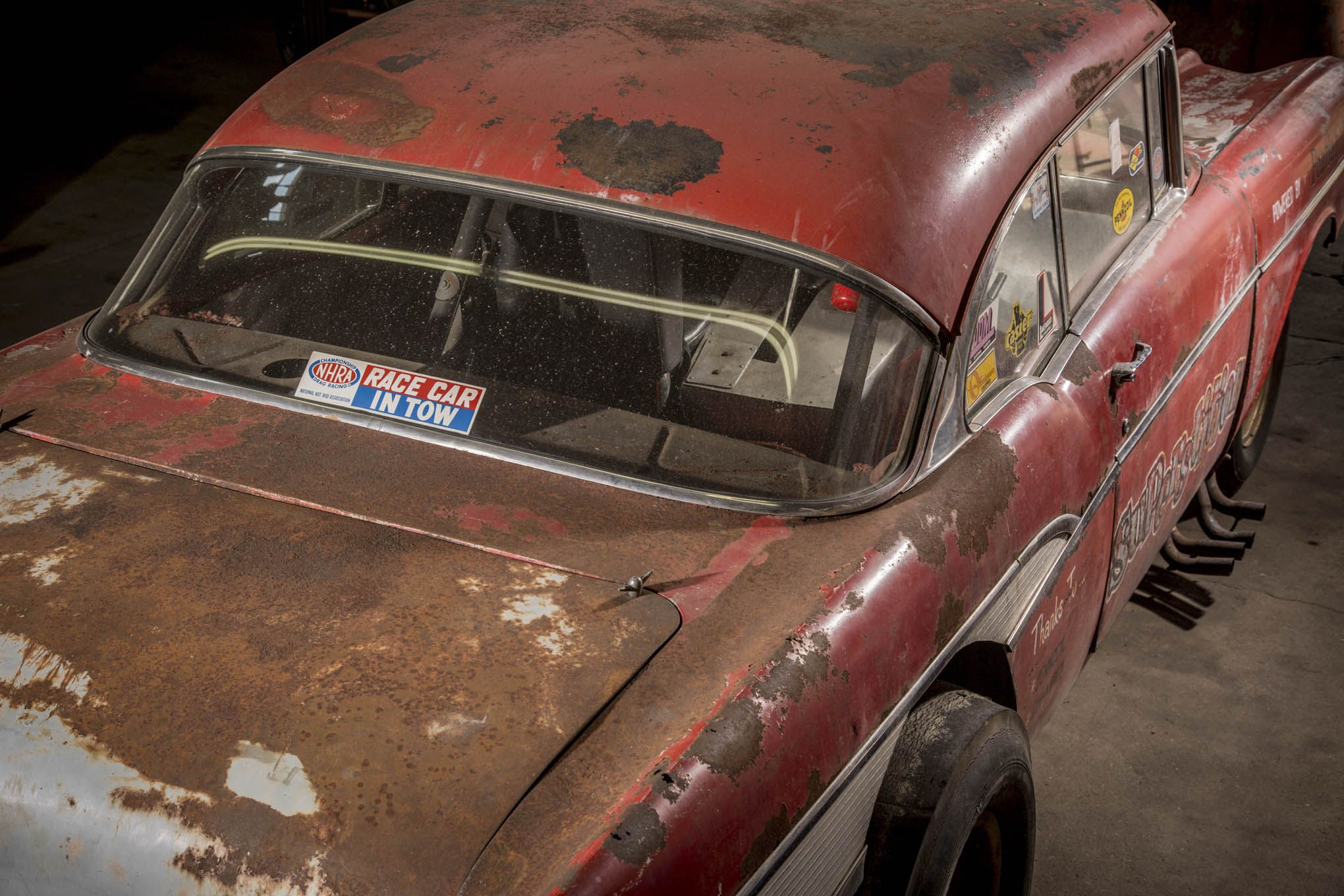 Superstition was stored in an open yard exposed to the elements for decades. Hence she has rather a lot of rusty panels that are in surprisingly good shape. (Picture courtesy Drew Hardin at hotrod.com)