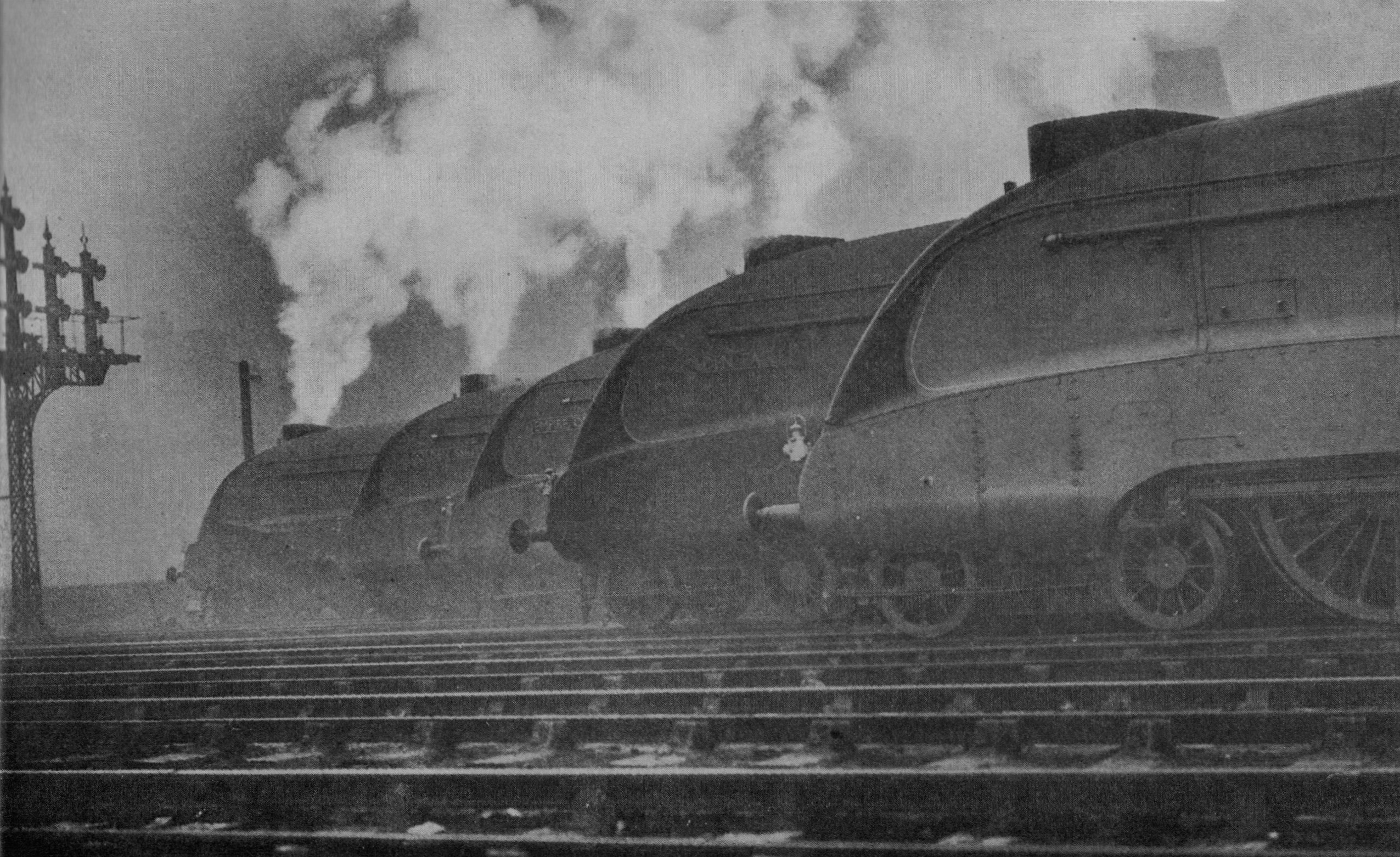 LNER A4 steam locomotives in 1937. (Picture courtesy Wikipedia).
