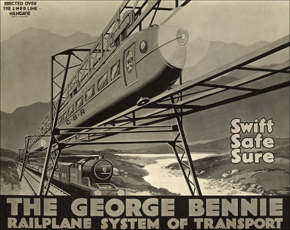 "There was more required than just ""Swift, Safe, Sure"" to sell George Bennie's Railplane to investors. (Picture courtesy University of Glasgow)."