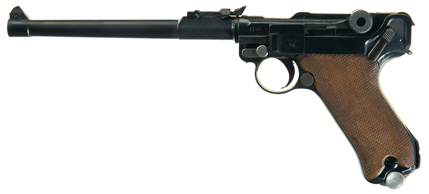 The Artillery Luger is commonly fitted for a detachable shoulder stock. This pistol has the shoulder stock fitting as can be seen at the heel of the grip. (Picture courtesy Rock Island Auction).