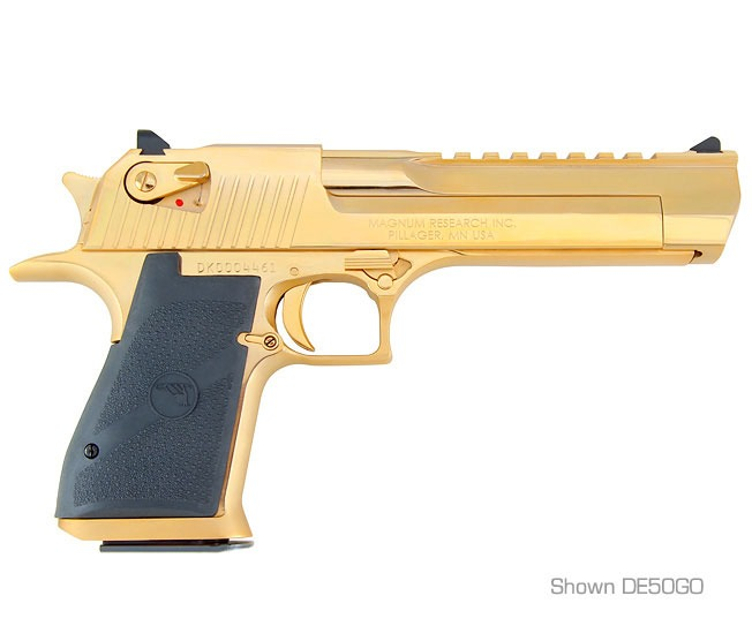 The not at all ostentatious 24 caret gold plated Desert Eagle. (Picture courtesy MRI).