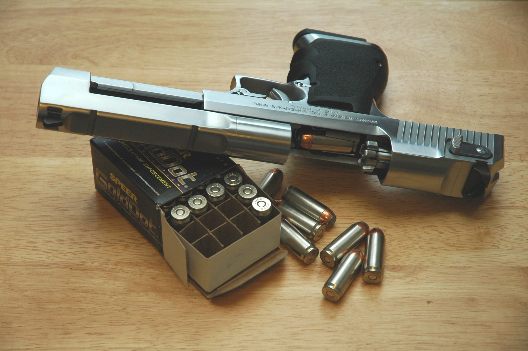 Desert Eagle in .50AE with Speer 350grain HP ammunition. (Picture courtesy Wikimedia).