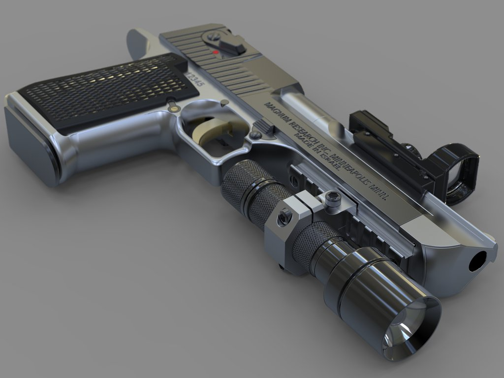 Adding a flashlight and optical sights makes your Desert Eagle more versatile, but heavier. If it is chambered for the .50AE this may be an advantage. (Picture courtesy hdwallpaperbackgrounds.net