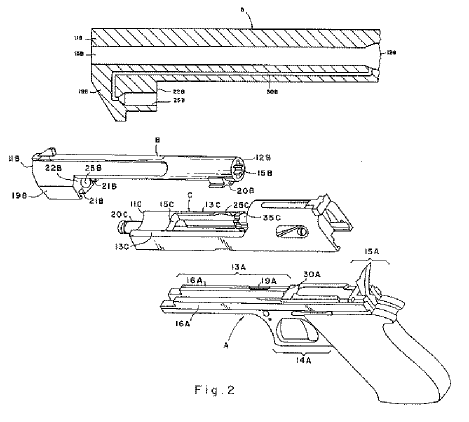 Original patent design drawing of the Desert Eagle showing the gas operating system. (Picture courtesy Wikipedia).