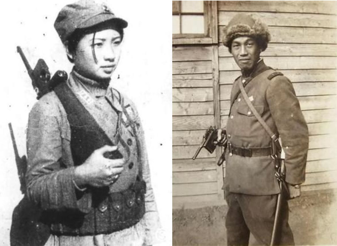 Foes of the war between China and Japan that preceded World War II; Chinese guerrilla on the left and Japanese officer on the right. The Japanese officer appears to have a Bolo Mauser which may have been a souvenir of the Russo-Japanese War of 1904-5.