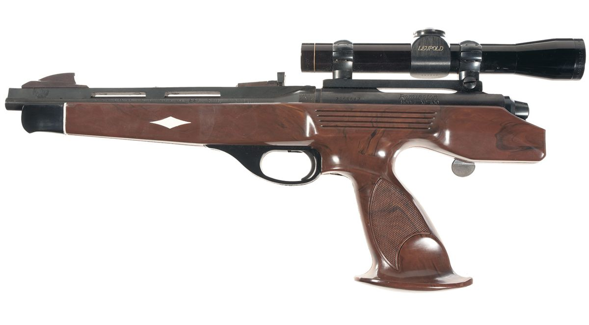 Left side view of an original XP-100. Note that the pistol grip is made to provide support for either right handed or left handed use. (Picture courtesy icollector.com).