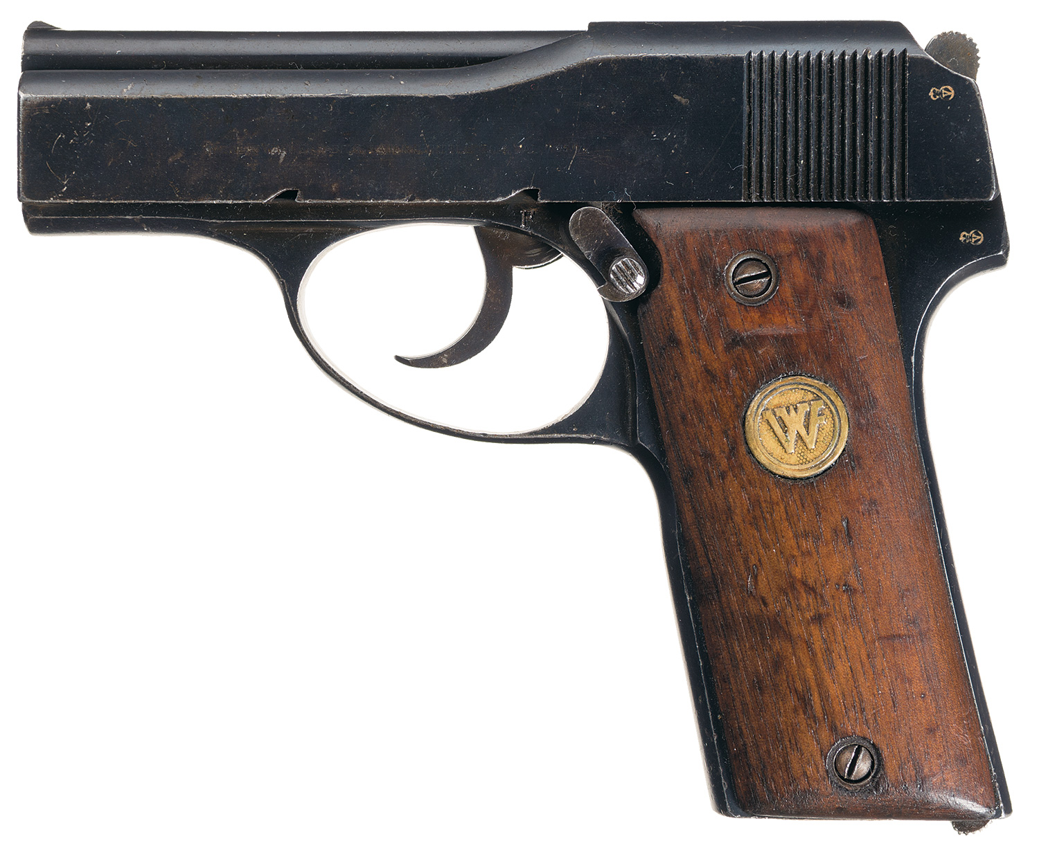 "Left side view of the ""Little Tom"" shows the safety catch, which is operated in the same way as the safety of the later Beretta M1934 and M1935. (Picture courtesy Rock Island Auction)."