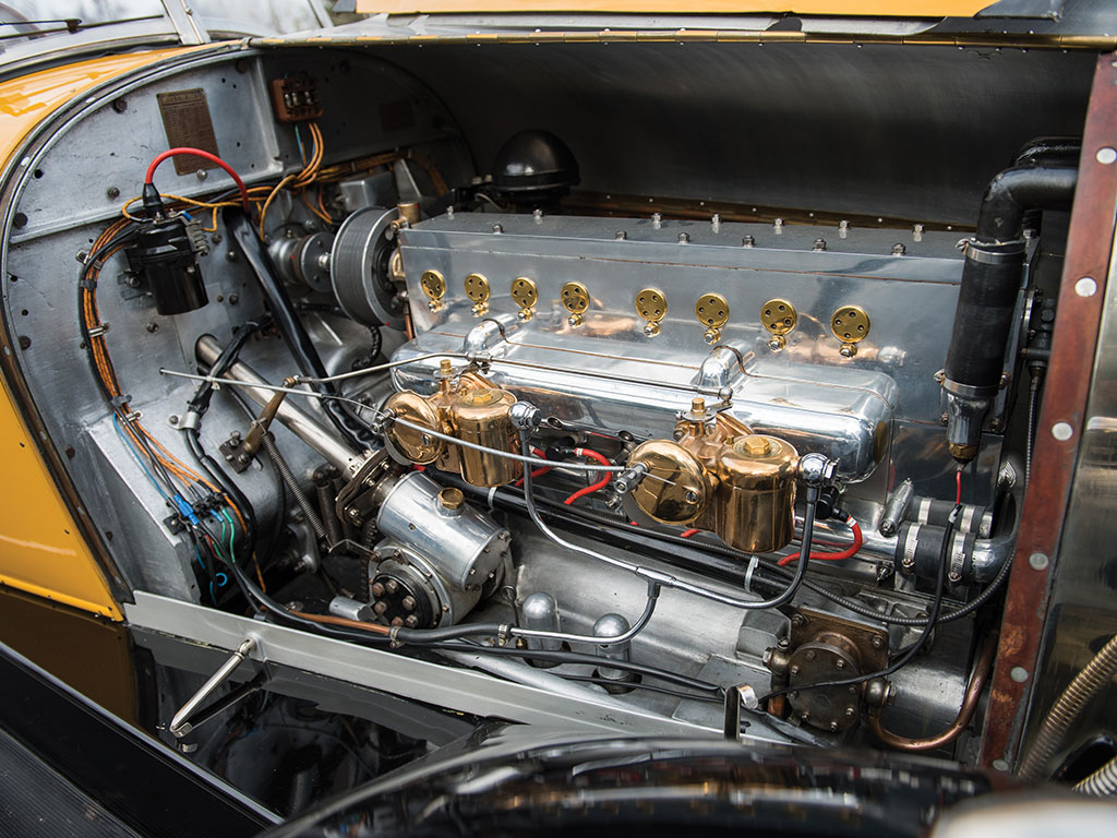 Beautifully engineered this first of Bugatti's straight eight engines also formed the basis for the four cylinder engines such as fitted to the Type 40, which was basically the eight cylinder engine cut in half. (Picture courtesy RM Sotherby's).