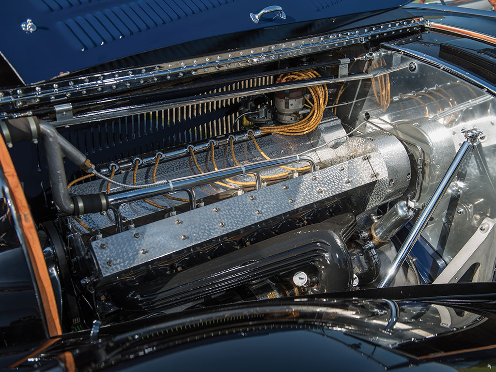 The Bugatti 3,257cc conventionally aspirated straight eight DOHC engine fills the engine bay completely. (Picture courtesy RM Sotherby's).