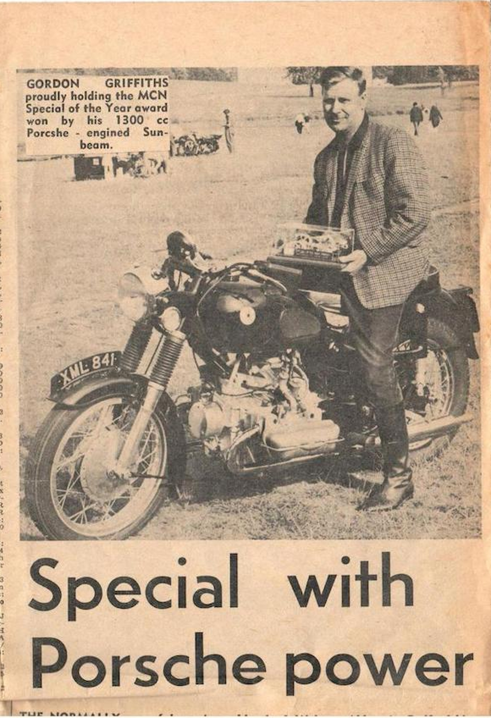 """Newspaper clipping from the July 8th 1970 edition of Motorcycle News featuring Gordon Griffiths holding his Motorcyle News """"Special of the Year"""" award. (PIcture courtesy Motorcycle News and Bonhams)."""