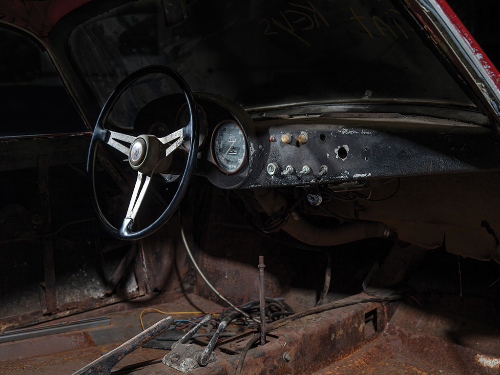 The interior of the car has many original parts but is in need of much work. (Picture courtesy RM Sotherby's).