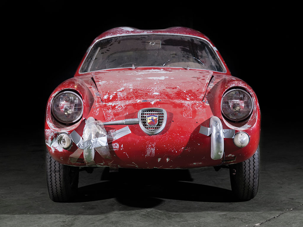 Thankfully the Abarth badge does not need to be held on with duct tape even though the front bumpers do. (Picture courtesy RM Sotherby's).