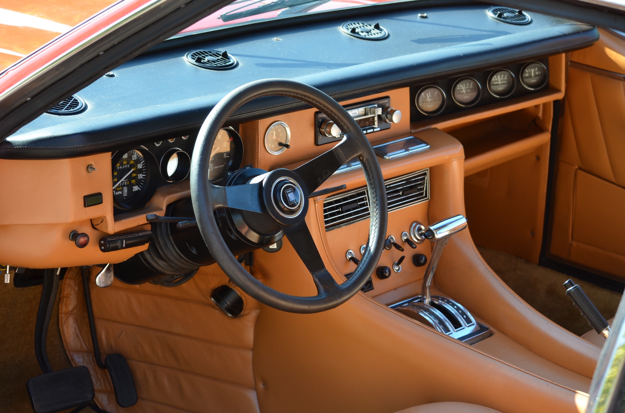 Interior of the Iso Lele is all Italian leather. Dashboard layout is sensible and excellent with engine monitoring gauges clearly visible at all times. (Picture courtesy bringatrailer.com).