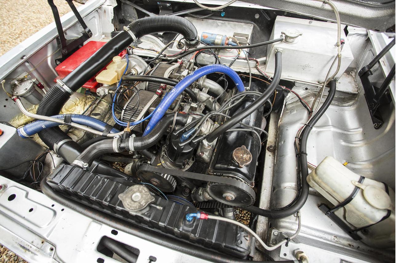 The 2279cc slant four engine fed by twin dual throat carburettors. (Picture courtesy Bonhams).
