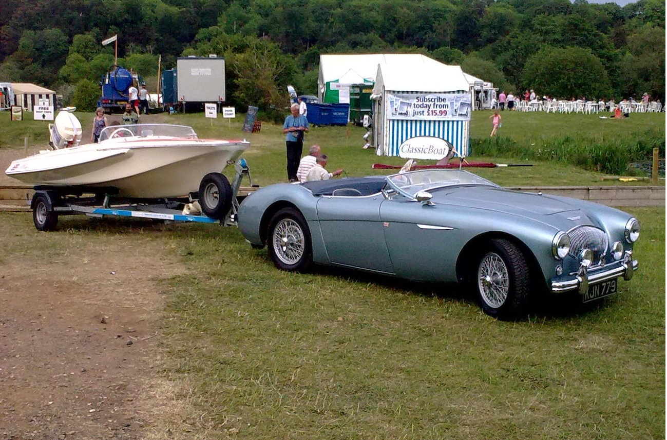 Does life actually get any better than this? The big Healey sports car and the Healey Sprite sports boat. (Picture courtesy Bonhams).
