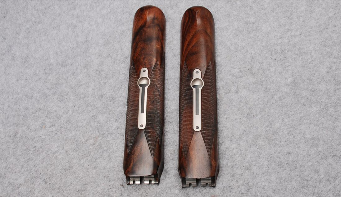 The rifle barrels and shotgun barrels each have their own fore-ends. Care has been taken by Krieghoff to ensure the wood matches perfectly. (Picture courtesy Cabela's).