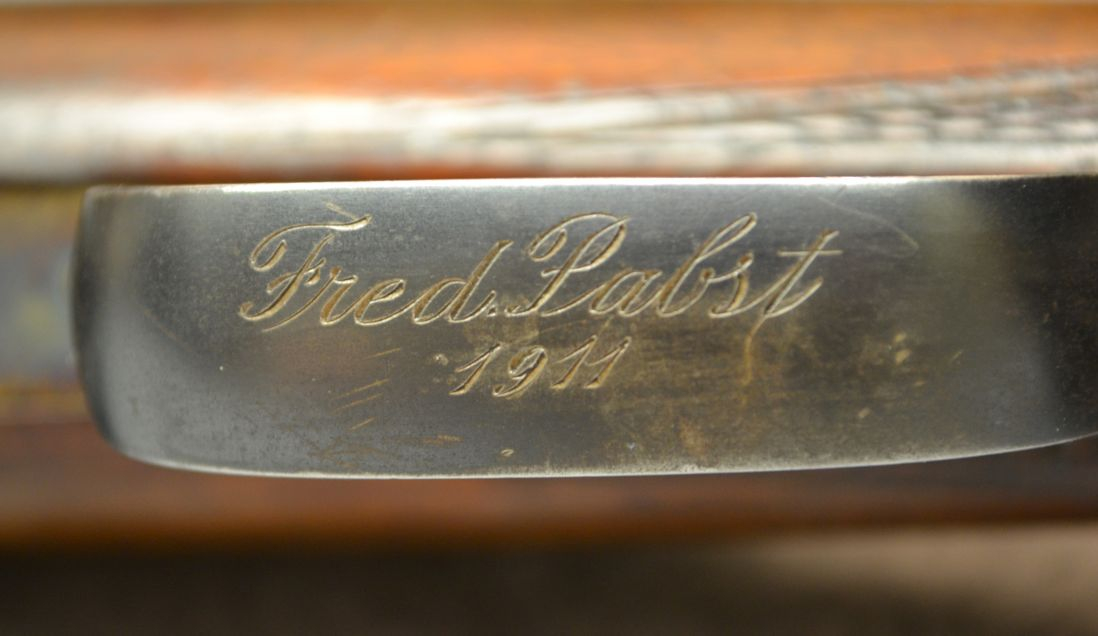 "The name on the trigger guard is ""Fred. Pabst"" the dot after the word Fred indicating this is an abbreviation, most likely for Frederick. (Picture courtesy Cabela's)."