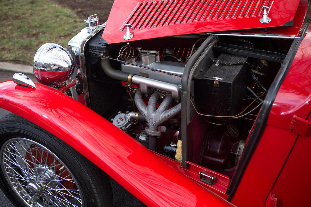 The MG P series engine was an 847cc in-line four cylinder single overhead camshaft. (Picture courtesy Bonhams).