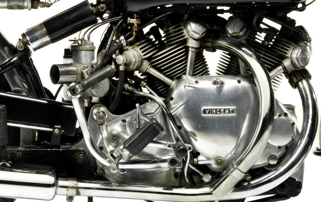 The engine, clutch and gearbox assembly formed part of the bike's frame. (Picture courtesy Bonhams).