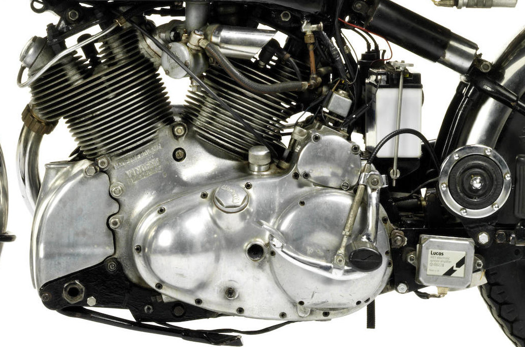 The V twin cylinders are offset from each other to improve exhaust valve cooling for the rear cylinder. (Picture courtesy Bonhams).