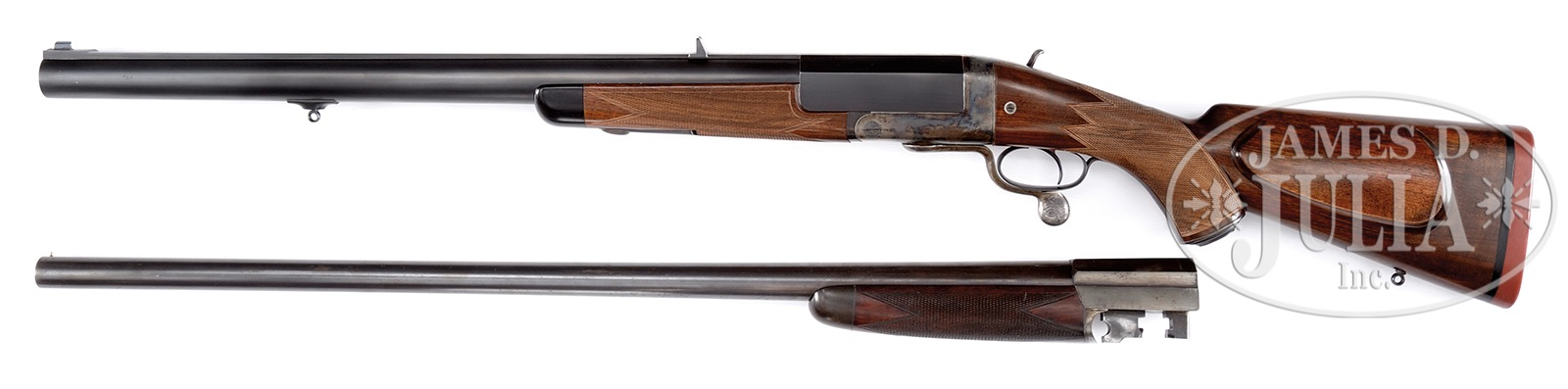 The re-barreled Army and Navy Store single shot four bore comes with its old barrel included. (Picture courtesy James D. Julia Inc.).
